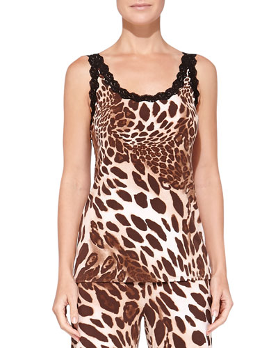 Lace-Trimmed Animal-Print Camisole, Natural Brown