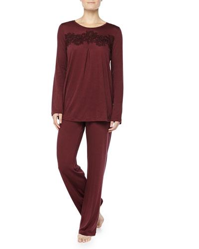 Cashmere-Blend MOMA Lace-Detailed Pajama Set, Maroon