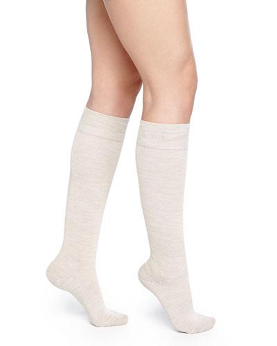 Wool-Blend Knee-High Socks, Linen Melange
