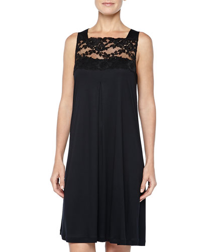 Met Leavers Lace Tank Gown, Black