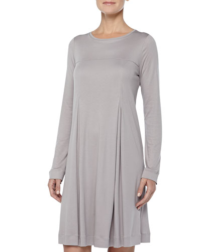 Tribeca Inverted-Pleat Short Gown, Ash