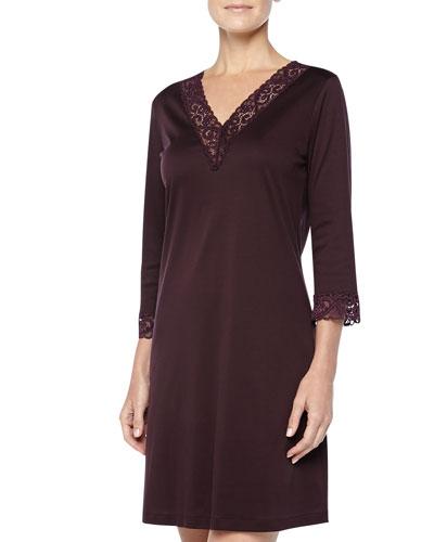 Moments Lace-Trimmed Big Sleepshirt, Burgundy