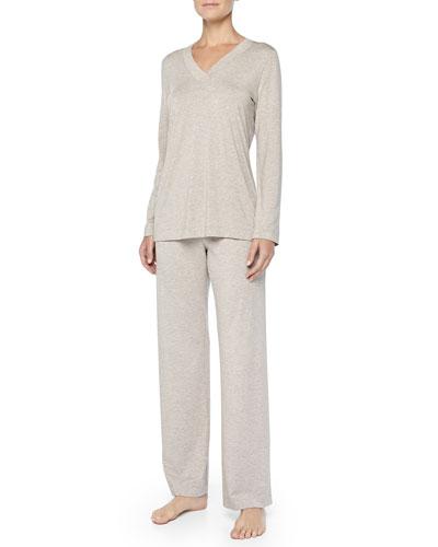 Champagne Soft Jersey Pajama Set, Dark Stone