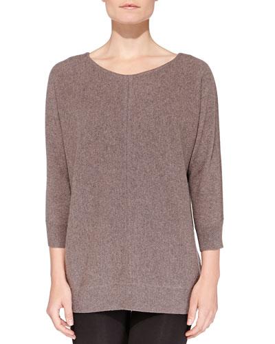 Cashmere Stitch-Front Crewneck Sweater