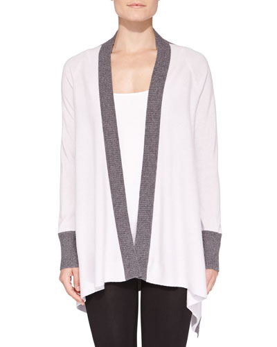 Cashmere Two-Tone Waterfall Cardigan