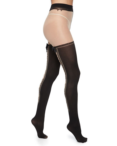 Lace-Up Bow-Detailed Tights, Black/Nude