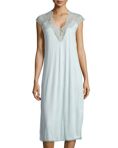 Sophia Lace-Trim Nightgown, AquaSophia