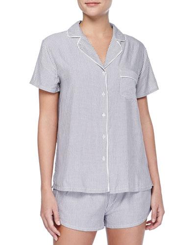 Classic Striped Short Pajama Set, Black/White