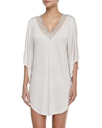 Cassandra Lace-Trimmed Jersey Tunic, Moonbeam