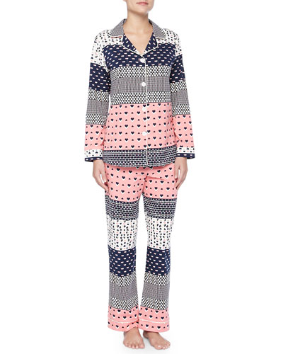 Hearts Galore Print Jersey Pajama Set, Pink