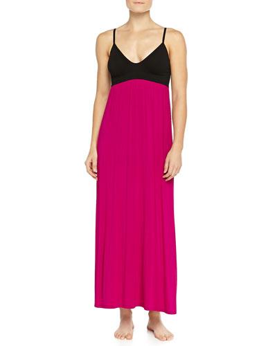 Liquid Jersey Long Gown, Fuchsia