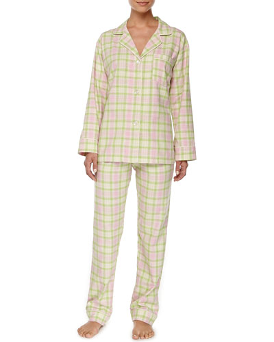 Winter Plaid Flannel Pajama Set, Pink/Green
