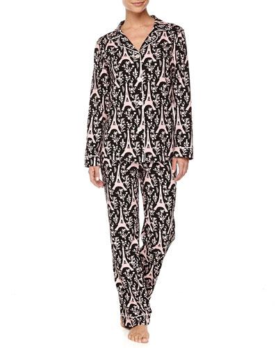 Eiffel Tower-Print Piped Pajama Set, Black/Pink