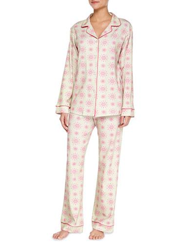 Snowflake Jersey Pajama Set, Pink