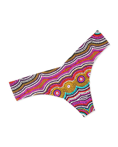 Marrakech-Print Thong, Pink/Multicolor