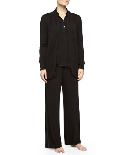 Lounge with Me Silk-Trimmed Long Wrap, Black