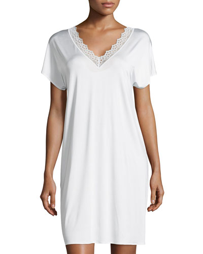 Capri Lace-Trim Short-Sleeve Gown, Off White