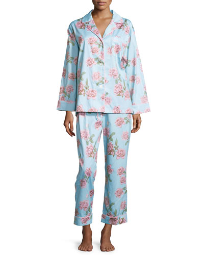 Rose-Print Classic Sateen Pajama Set, Blue Vintage Rose