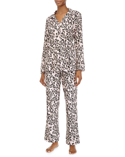 Classic Long-Sleeve Pajama Set, Pink Leopard