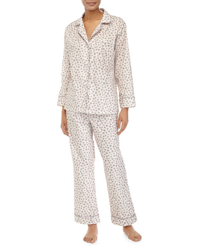 Classic Long-Sleeve Polka-Dot Pajama Set, Pink/Gray, Women