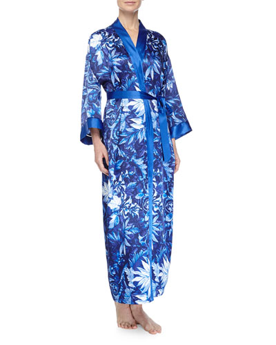 Twilight Vines Printed Charmeuse Robe