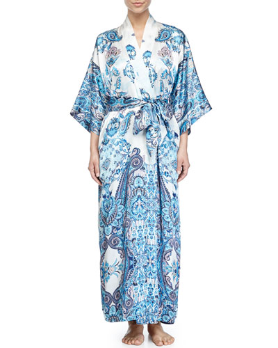 Printed Long Robe, Blue