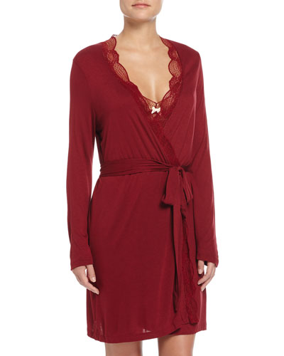 Estelle Lace-Trimmed Robe, Merlot