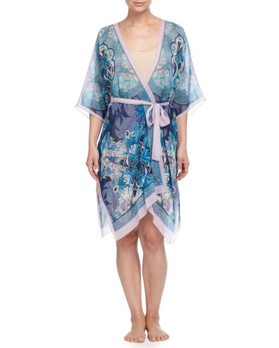 Printed Open-Front Wrap Dress, Multicolor