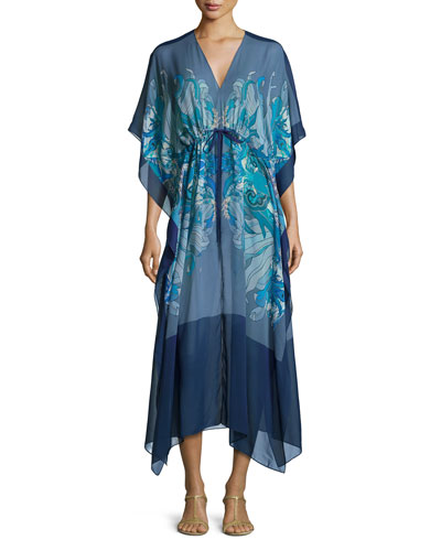 Printed V-Neck Long Caftan, Blue Pattern