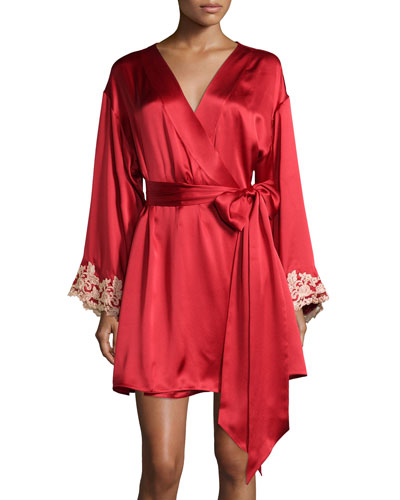 Maison Lace-Trim Short Robe, Red/Gold