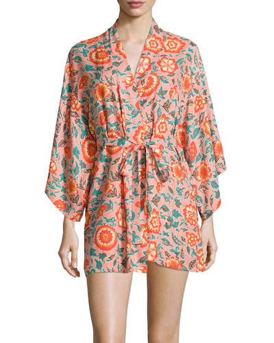 Ceramic Floral 3/4-Sleeve Wrap Robe, Pink