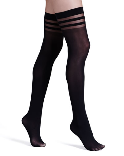 Opaque Thigh-High Stockings by Pretty Polly, Black