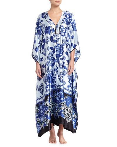 Printed Charmeuse Zip Caftan Coverup, Blue Chandelier