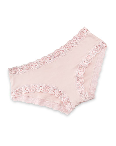 Top Drawer Lace-Trimmed Boy-Leg Panty, Shell