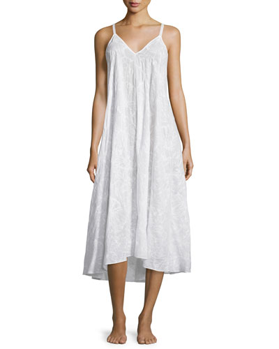 Embroidered Cotton High-Low Gown, White