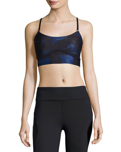 The Cut Printed Cami Sports Bra, Blue Suro/Black