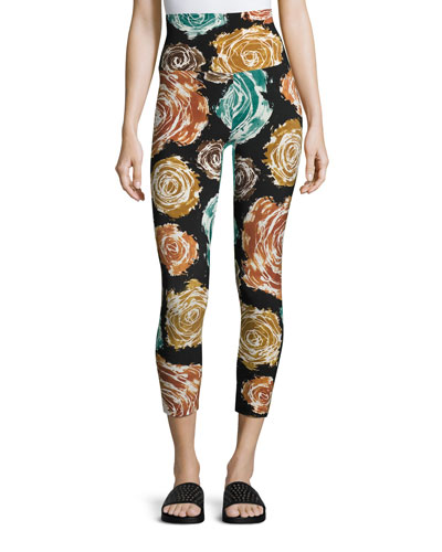 High-Rise Floral-Print Cropped Sport Leggings