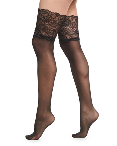 Lace-Filigree Stay-Up Thigh-High Stockings, Black