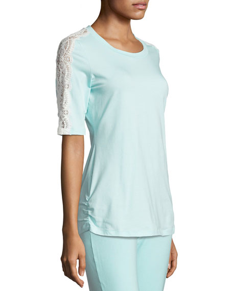 Sonia Lace-Trim Lounge Top, Blue/White