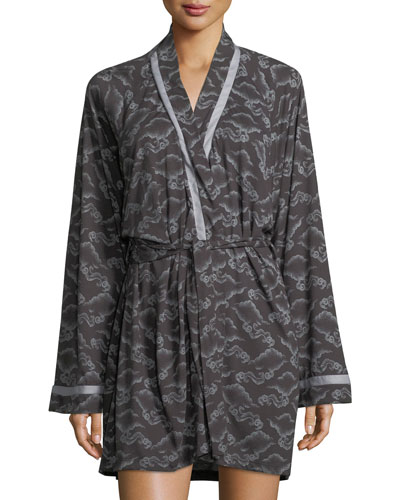 Bella Cloud-Print Short Robe