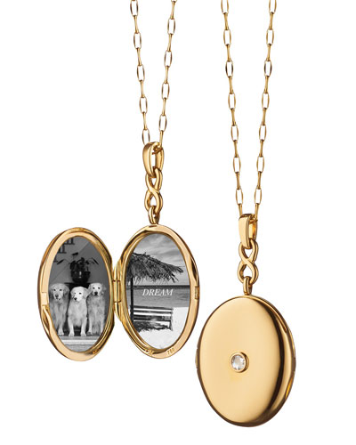 18K Gold Locket Necklace with Diamond Center