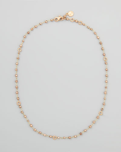 18k Rose Gold Pyrite Delicate Bead Necklace, 20