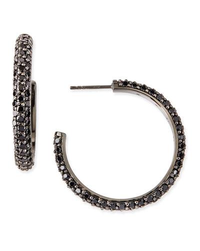 Small Pave Black Spinel Hoop Earrings