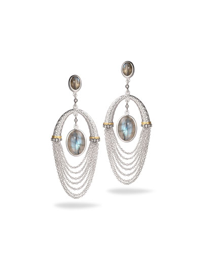 Spring Labradorite Chain Drop Earrings with Diamonds