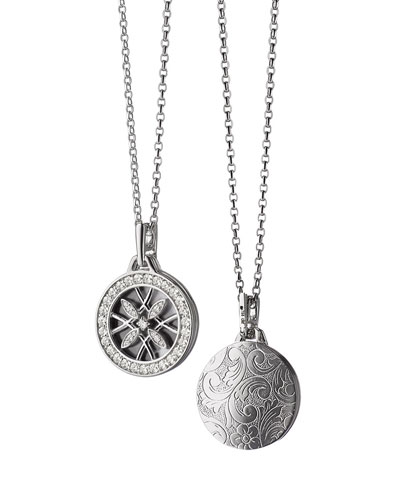 18k White Gold & Diamond Gate Locket Necklace