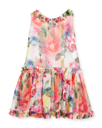 Sleeveless Smocked Floral Chiffon Dress, Multicolor, Size 7-14
