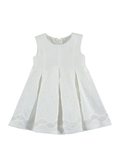 Sleeveless Eyelet Embroidered Pleated Dress, Neutral, Size 3-7