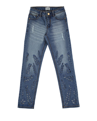 Eyelet Leaf Faded Slim-Fit Stretch Jeans, Blue, Size 8-16