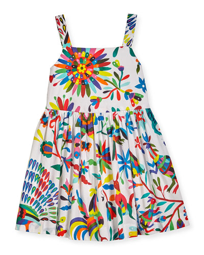 Emaline Sleeveless Folkloric Poplin Dress, Multicolor, Size 8-16