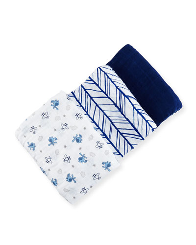 3-Piece Swaddle Blanket Set, Blue